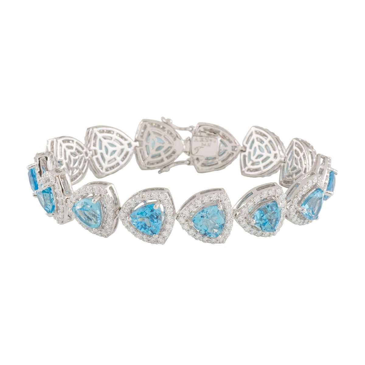 White Gold Topaz and Diamond Bracelet